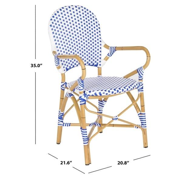 "Hooper Blue/ White Indoor Outdoor Arm Chair (Set of 2) - 20.8"" x 21.6"" x 35"""
