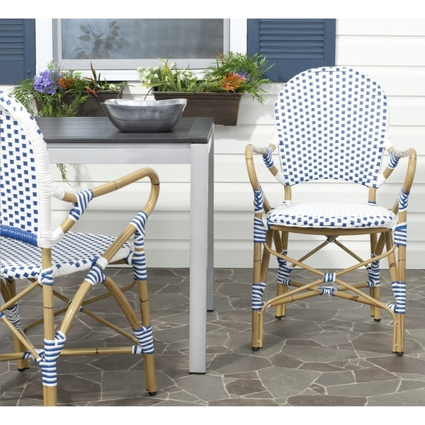 "Hooper Blue/ White Indoor Outdoor Arm Chair (Set of 2) - 20.8"" x 21.6"" x 35"". Opens flyout."
