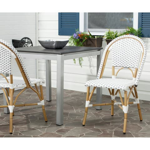 Safavieh Dining Rural Woven Salcha Grey/ White Indoor/ Outdoor Stackable Side Chair (Set of 2)