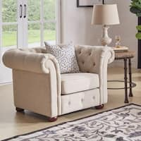 Knightsbridge Beige Linen Tufted Scroll Arm Chesterfield Chair by iNSPIRE Q Artisan