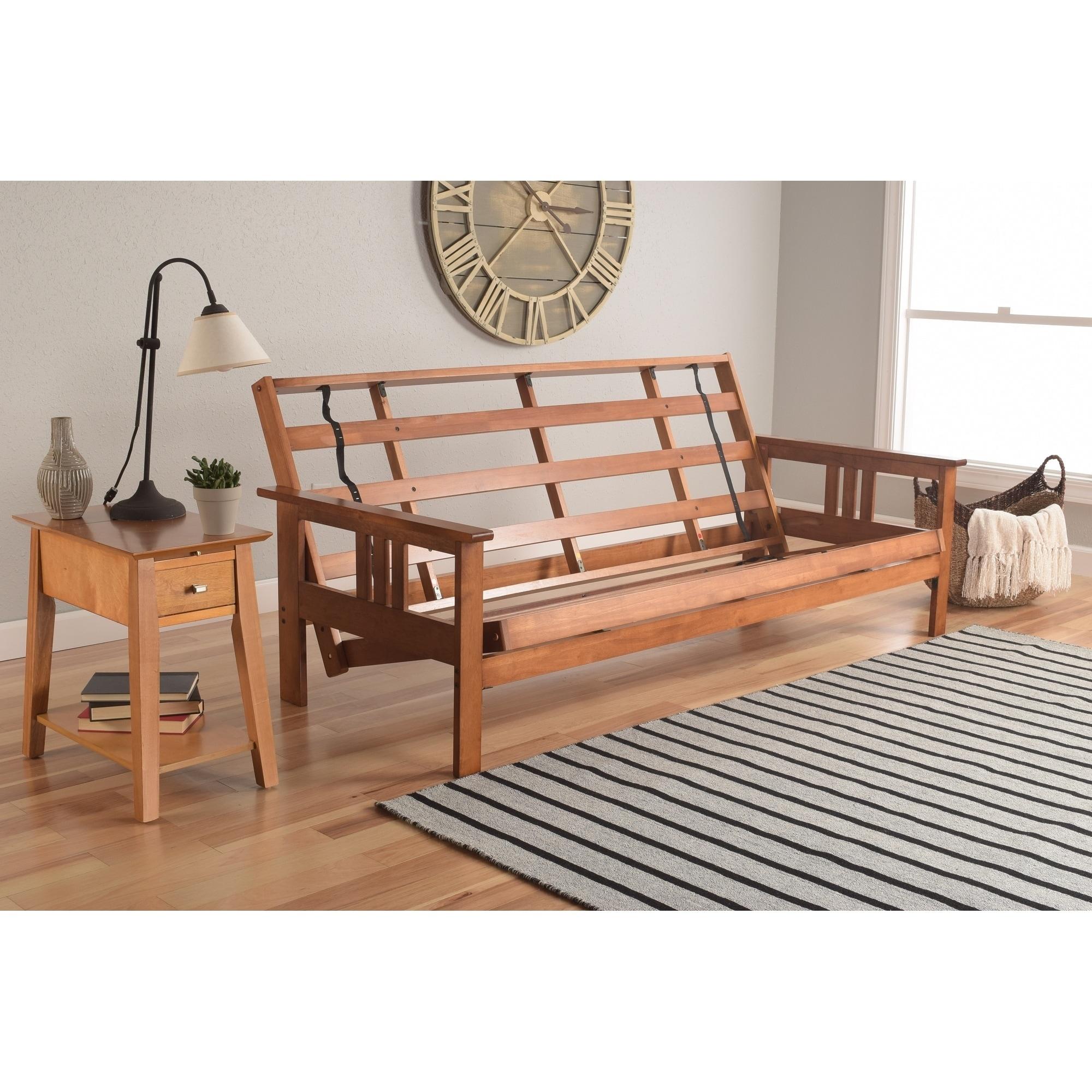 Somette Beli Mont Multi Flex Honey Oak Full Size Wood Futon Frame