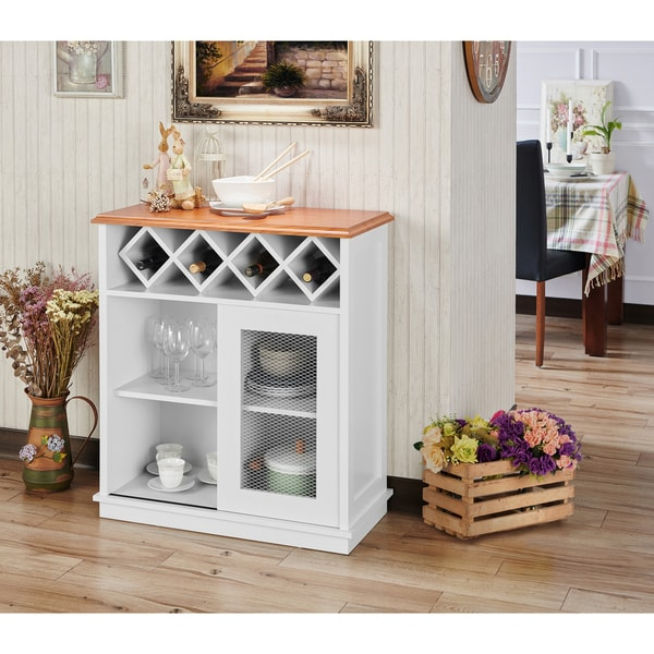Shop Furniture Of America Saucedo Rustic White Buffet With Wine Rack