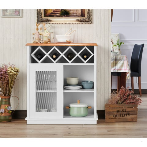 Furniture of America Saucedo Rustic White Buffet with Wine Rack - N/A