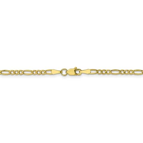 Curata 10k Yellow Gold 10-inch 2.5mm Polished Figaro Chain Anklet Ankle Bracelet for Women
