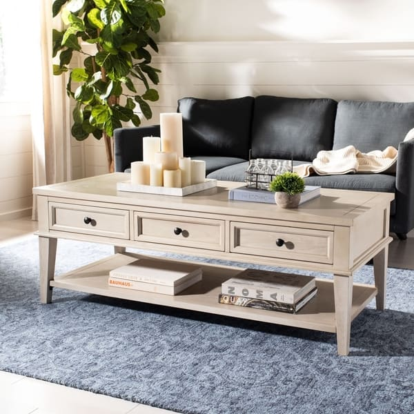 Shop Safavieh Manelin White Washed Coffee Table On Sale