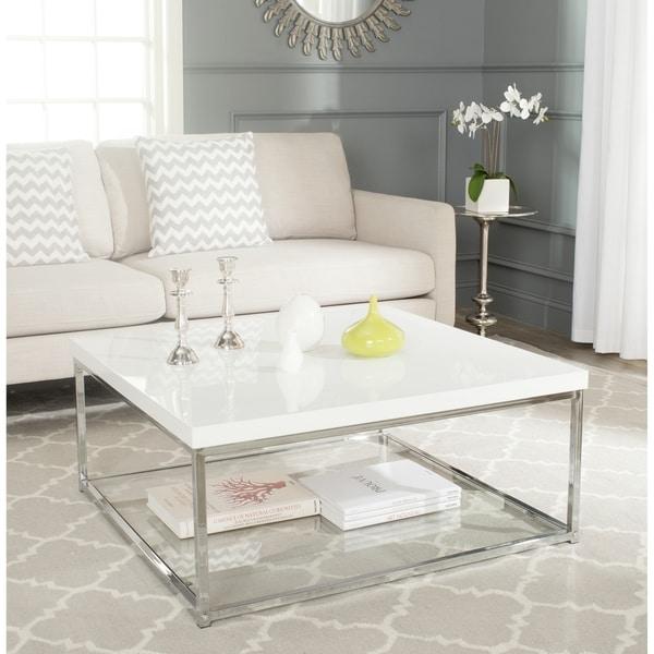 "Safavieh Malone White/ Chrome Coffee Table - 35.4"" x 35.4"" x 15.7"""