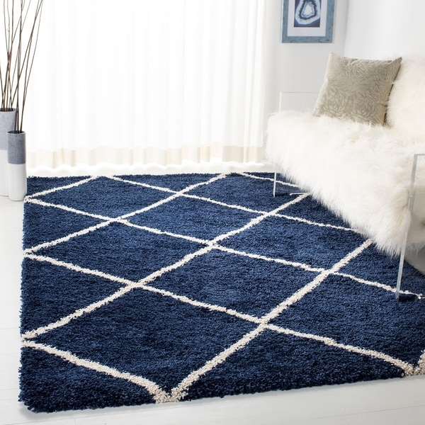 Shop Safavieh Diamond Shag Navy Ivory Rug 8 X 10 8