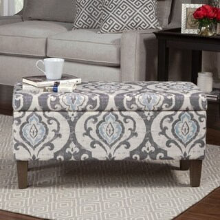 Porch & Den Buhrer Blue Slate Damask Storage Ottoman