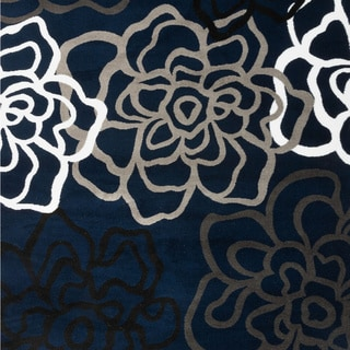Contemporary Modern Floral Flowers Area Rug (Navy - 53 x 73)