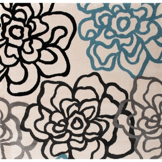 Contemporary Modern Floral Flowers Area Rug (Cream - 2 X 3)