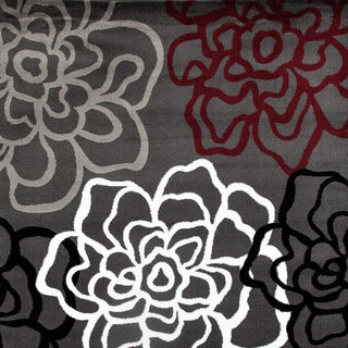 Contemporary Modern Floral Flowers Area Rug (Gray/Red - 10 x 14)