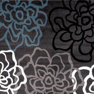 Contemporary Modern Floral Flowers Area Rug (Dark Grey - 53 x 73)