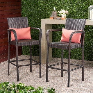 Christopher Knight Home Delfina Outdoor Wicker Barstool (Set of 2)
