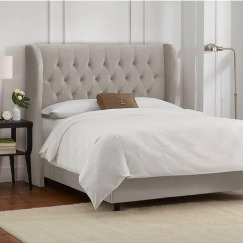 Skyline Furniture Light Grey Velvet Tufted Wingback Bed