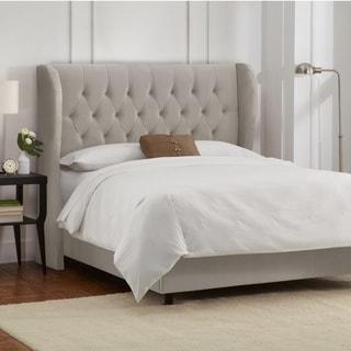 Skyline Furniture Tufted Wingback Bed in Velvet Light Grey