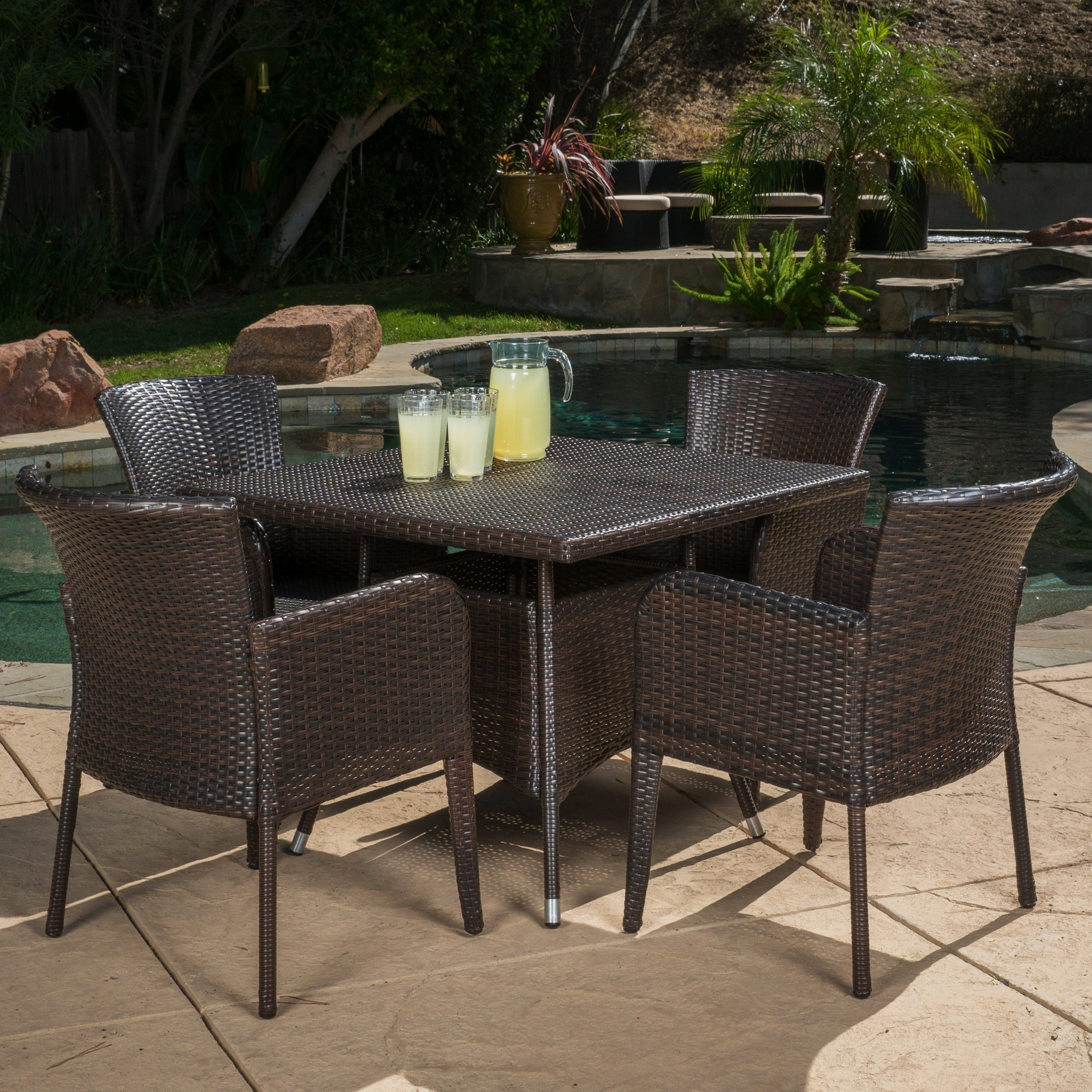 Christopher Knight Home Corsica Outdoor 5 Piece Wicker Dining Set