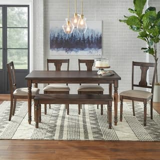 Barish 6 Piece Burntwood Dining Set With Bench