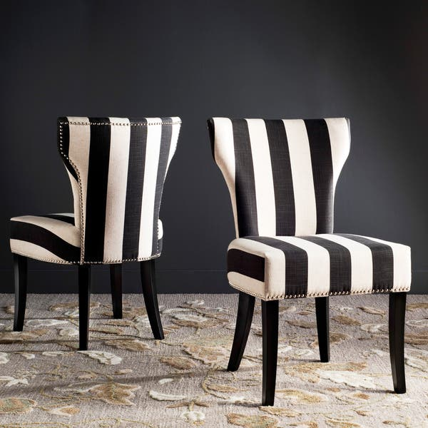 Admirable Shop Haver Black And White Striped Dining Chairs Set Of 2 Caraccident5 Cool Chair Designs And Ideas Caraccident5Info
