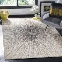 Vintage Abstract Burst Black/ Ivory Distressed Rug - 8' x 10'