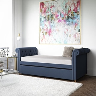 Avenue Greene Stacy Blue Linen Upholstered Trundle/Daybed
