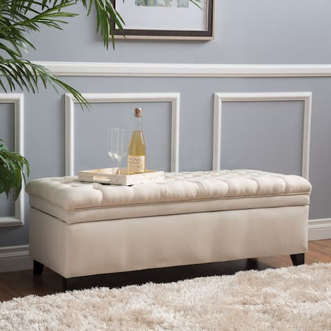 Hastings Tufted Fabric Storage Ottoman Bench by Christopher Knight Home