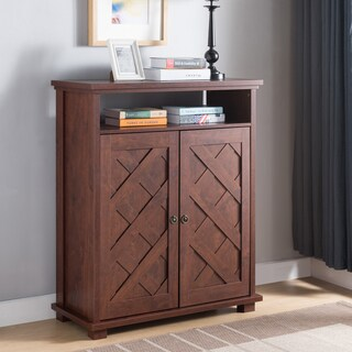 Furniture of America Levar Rustic Vintage Walnut Shoe Cabinet