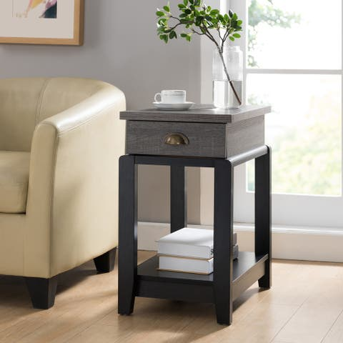 Furniture of America Hene Contemporary Black 1-drawer Side Table