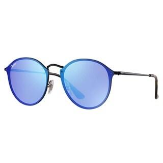 Ray-Ban RB3574N Blaze Round Sunglasses Black/ Violet & Blue Mirror 59mm