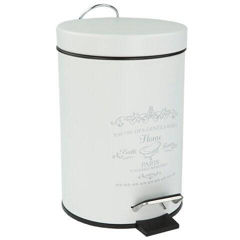 Home Basics Paris White Stainless Steel 3-liter Waste Bin