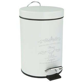 Home Basics Paris White Stainless Steel 3-liter Waste Bin