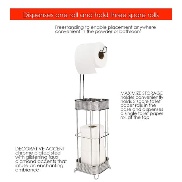 Home Basics Diamond Collection Chrome Toilet Paper Holder
