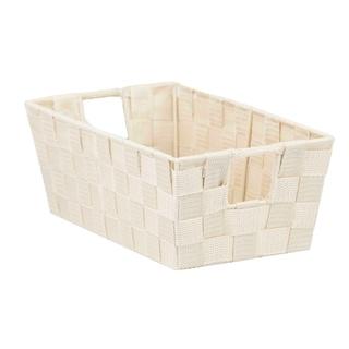 Home Basics Ivory Polyester Woven Open Strap Bin