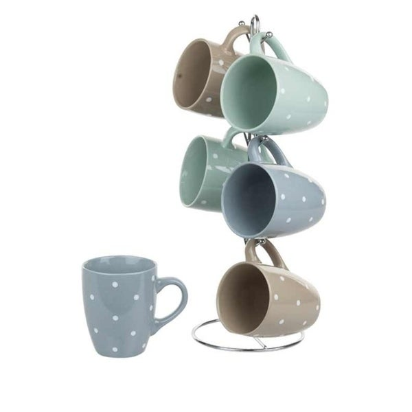 Home Basics 6-piece Stoneware Mug Set with Stand. Opens flyout.