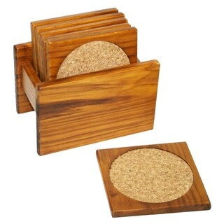 Home Basics 6-piece Pine Coaster Set