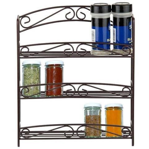 Home Basics Bronze Steel 3-tier Spice Rack