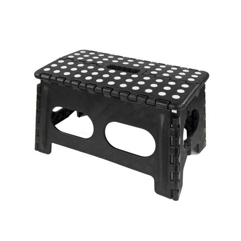 Home Basics Black Non-slip Grip Dots/Carrying Handle Folding Stool