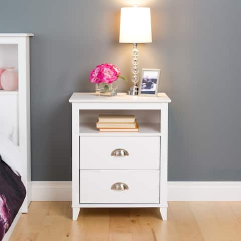 Prepac 2 Drawer Accent Table in White