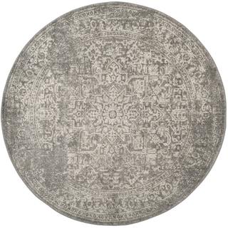 Safavieh Evoke Quinn Vintage Boho Medallion Distressed Rug (51 x 51 Round - Silver/Ivory)