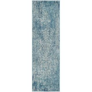 Safavieh Evoke Quinn Vintage Boho Medallion Distressed Rug (22 x 13 Runner - Blue/Ivory)
