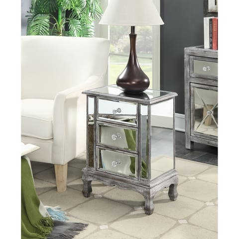 Silver Orchid Brindeau 3-Drawer Mirrored End Table