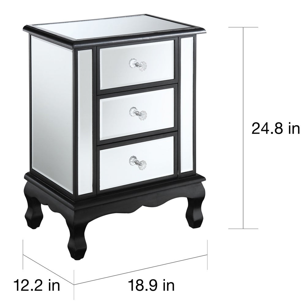Silver Orchid Talmadge 3-Drawer Mirrored End Table