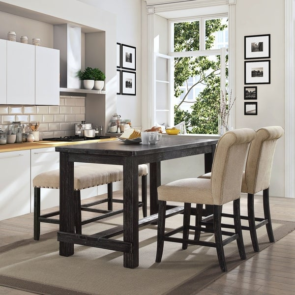 Stanton Counter Height Dining Table In Black: Shop Telara Rustic Counter Height Dining Table By FOA