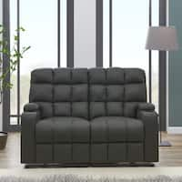 Clay Alder Home Pisgah Grey Microfiber Wall Storage 2 Seat Reclining Loveseat