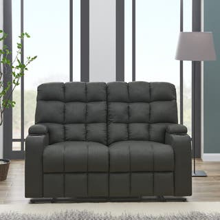 ProLounger Grey Microfiber Wall Hugger Storage 2 Seat Reclining Loveseat