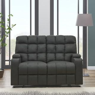 ProLounger Grey Microfiber Wall Hugger Storage 2 Seat Reclining Loveseat