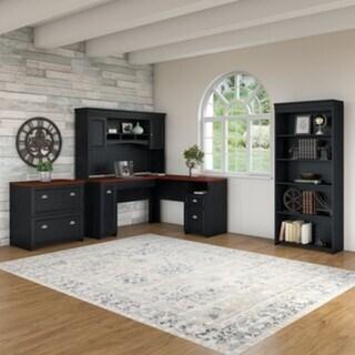 Copper Grove Khashuri Black L-shaped Desk with Hutch, Bookcase and File Cabinet