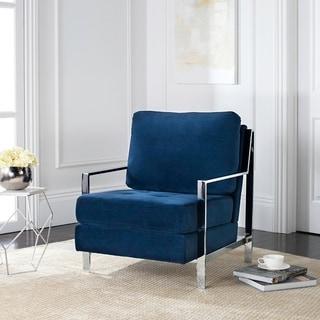 Mid-Century Modern Glam Velvet Navy Blue Club Chair