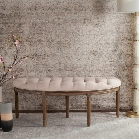 "Lanier Tufted Rustic Semi Circle Beige Bench - 50"" x 19.3"" x 19.3"""