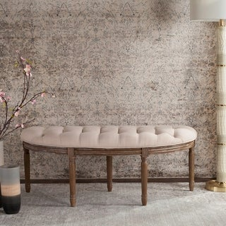 "Link to Lanier Tufted Rustic Semi Circle Beige Bench - 50"" x 19.3"" x 19.3"" Similar Items in Living Room Furniture"