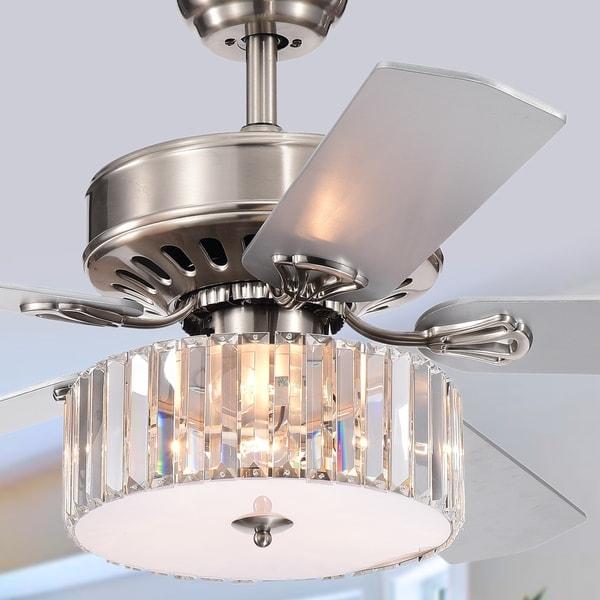Kimalex 3-light 5-blade Wood Nickel Crystal 52-inch Ceiling Fan (Optional Remote)
